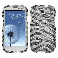 For Samsung Galaxy S III 3 Crystal Diamond BLING Hard Case Phone Cover Zebra