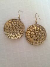 Brass Earrings with Arabic style geometric designs concave starry suspended