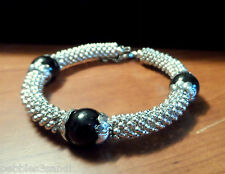 "Nib SHAMBALLA BEADED Bangle Bracelet 8-9"" Silvertone Cluster Jewelry Japanese"