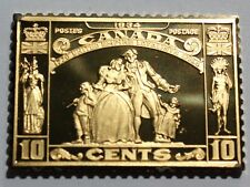 1934 Canada 10 Cent Empire Loyalist Sterling Silver Stamp Bar Franklin Mint