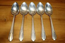 5 Vintage National Silver NS Co Plume EPNS Silverplate Flatware Teaspoons