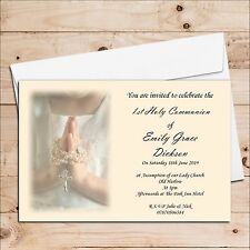10 Personalised Girls 1st First Holy Communion Invitations Invites H15