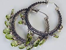 Barbara Bixby Sterling Silver 18K Gold Peridot Briolette Hoop Earring