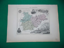 TARN & GARONNE CARTE ATLAS MIGEON Edition 1885, Carte + fiche descriptive