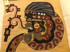 ZAPOTEC INDIAN WEAVING TEXTILE RUG WALL HANGING HAND SPUN WOOL God Of Seeds