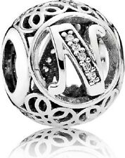 New Authentic Pandora Charm 791858CZ Vintage Letter N Clear CZ Bag Included