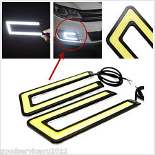One Pair 12V 6W U Shape COB LED White Autos Fog Lights DRL Driving Lamps Strips