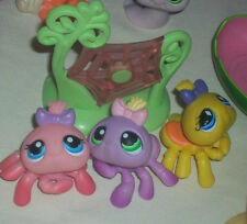 Littlest Pet Shop 3 different Spiders~~ and their web Lot