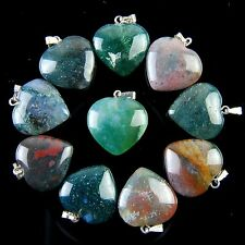 10pcs Charming Indian Agate Heart Pendant Bead ABXX8