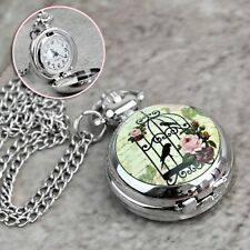 Sweet Birdcage Rose Watch Necklace Pendant Silver  US SELLER! Armoire Jolie