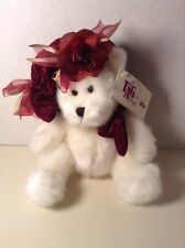 "Tag Along 10"" White Teddy Bear with Hat Plush Stuffed Animal Toy"