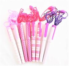 8 x Pen On A String/Rope Pink Designs Patterns Ball Point With Blue Ink