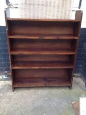 Large Stained Pine *BOOKCASE SHELVING UNIT* Vintage Priory Style Solid Sturdy