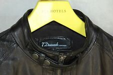 SUPER BEAUTIFUL !!! 7 DIAMONDS MEN  ZIP UP SOFT LEATHER BIKER MOTO JACKET SIZE L