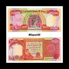 75,000 New Crisp Iraqi Dinar Uncirculated 3 x 25,000 Iraq Banknotes