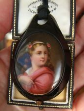 Antique Victorian 1880s Whitby Jet & Hand Painted Porcelain Plaque Pendant