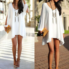 Womens Boho Chiffon Loose Long Shirt Blouse Top Mini Short Dress Party Cocktail