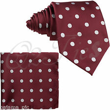 Burgundy Silver Polka Dots Self-tied Neck tie & Pocket Square Hanky Set Wedding