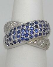LADIES 14K WHITE GOLD 1.00ct BLUE SAPPHIRE & DIAMOND CRISS CROSS BAND RING 12mm