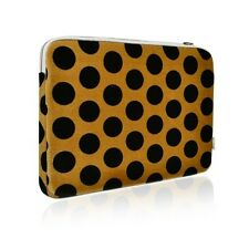 "Black Polka Dot Print on Brown Laptop Sleeve for All 13"" Macbook / Air / Pro"