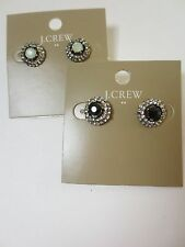 J.Crew Crystal Stud Earrings NWT $19.50 item B0380 Black Opal Set of 2
