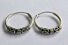 Pair Of Sterling Silver Bali Style Hoop Earrings  10 mm  !!    Brand  New  !!