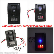 Dual Battery Test Panel ABS Rocker Switch 12V Digital Voltmeter For Boat Marine