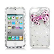 For iPhone 5 5S Dazzling 3D Diamond Rhinestone Ribbon Bow Bling Cover Case