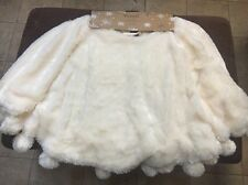 "THRO MARLO LORENZ WHITE CREAM FAUX FUR POM POM  52"" CHRISTMAS TREE SKIRT NEW"