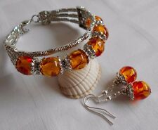 Unique tibetan silver bracelet amber like acrylic beads with matching earrings