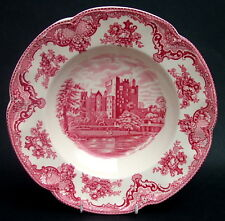 Johnson Brothers Old Britain Castles Lg Red Deep Rim Soup Plates 25cm - in VGC