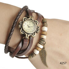 Vintage Angel Wings Design Leather Band Lady Girl Women Quartz Wrist Watch Reloj