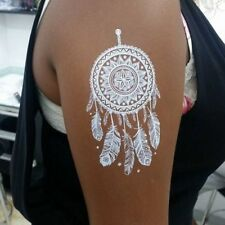 White Temporary Henna Dream Catcher FakeTattoos Body Hand Neck Transfer Tattoo
