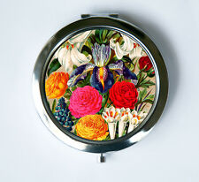 Flowers Compact Mirror Pocket Mirror iris lily hyacinths botanical
