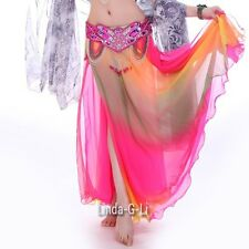 Professional 2 layers 2 side slits Gradient Color Belly Dance Skirt 1/1  2/1