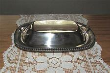 VINTAGE ESTATE 1930's LEHMAN BROTHERS HEAVY SILVER OVER COPPER COVERED DISH
