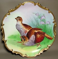 "Vibrant Handpainted LIMOGES CORONET GAME PLATE 10.25"" Charger Signed L. Conderly"