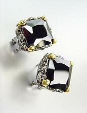 CHUNKY Designer Silver Gold Balinese Filigree Black Onyx CZ Crystal Earrings
