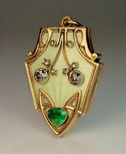 Superb Antique Russian Art Nouveau Enamel Diamond Emerald Gold Locket