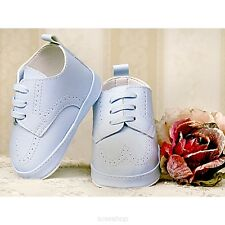 BABY BOYS LIGHT BLUE WHITE FAUX LEATHER CHRISTENING PRAM SHOES SMART 3 6 9 12M