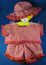 BUILD-A-BEAR RED GINGHAM TOP & SHORTS SET w SUN BONNET TEDDY CLOTHES OUTFIT