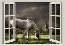 Beautiful Horses Window View Repositionable Color Wall Sticker Wall Mural
