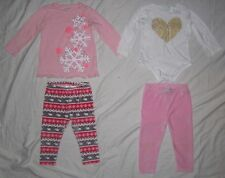 Infant Baby Girls JUMPING BEANS 2 Shirts Velour Leggings Pants Outfits 18 months