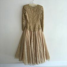 NWT Vintage Rose Taft Floral Brocade Gold Metallic Evening Gown Formal Dress 8