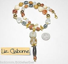 Signed LCi Liz Claiborne Necklace, Large Chunky Y-Drop, Asstd Earthy Faux Stones