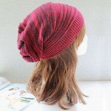 Womens Mens Warm Winter Stripe Baggy Beanie Knitted Crochet Hat Slouchy Ski Cap