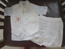 Baby Boy Christening Outfit 3 Piece Set 6-9 mo Baptism NWT Brazil No Bonnet Suit