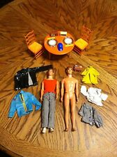 VIntage 1968 Ken Doll, 1970 Barbie Table & Chairs And Other Accessories