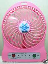 Portable Mini Rechargeable LED Light Fan With Battery & USB Cable(Pink)