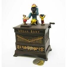 Monkey Organ Grinder Die Cast Iron Mechanical Bank Antique Replica